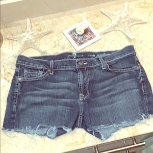 7 For All Mankind mid rise jean shorts